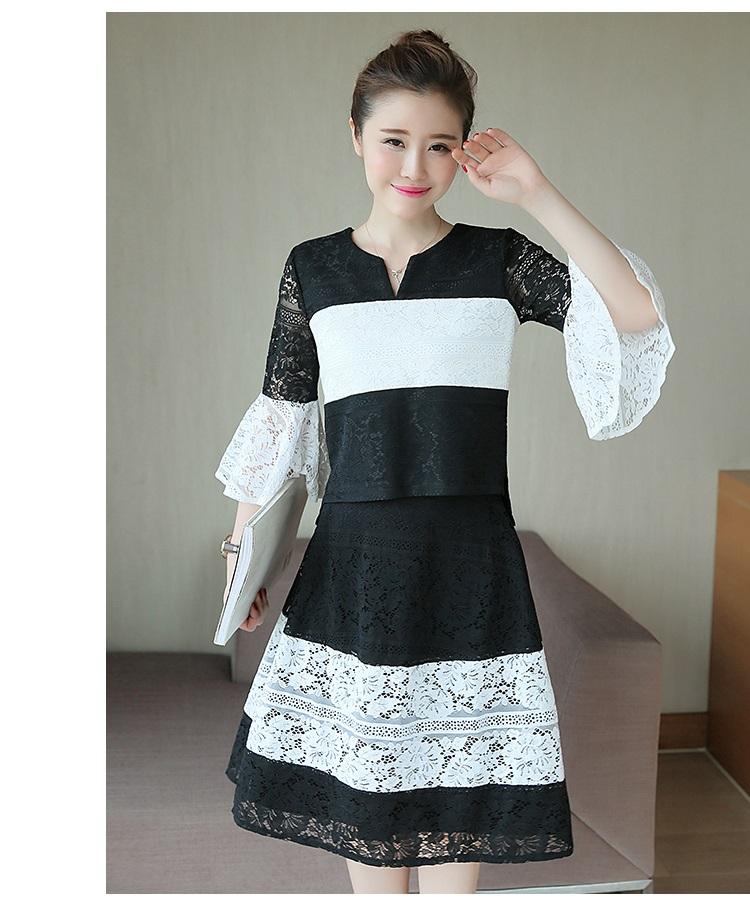 เสื้อพร้อมกระโปรงลาย ขาวดำ สวยน่ารักมากๆ