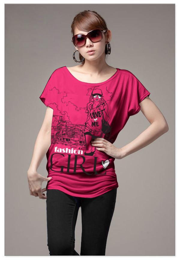 เสื้อยืดแฟชั่น ผ้านุ่ม ลาย Fashion Girl สีชมพูบานเย็น
