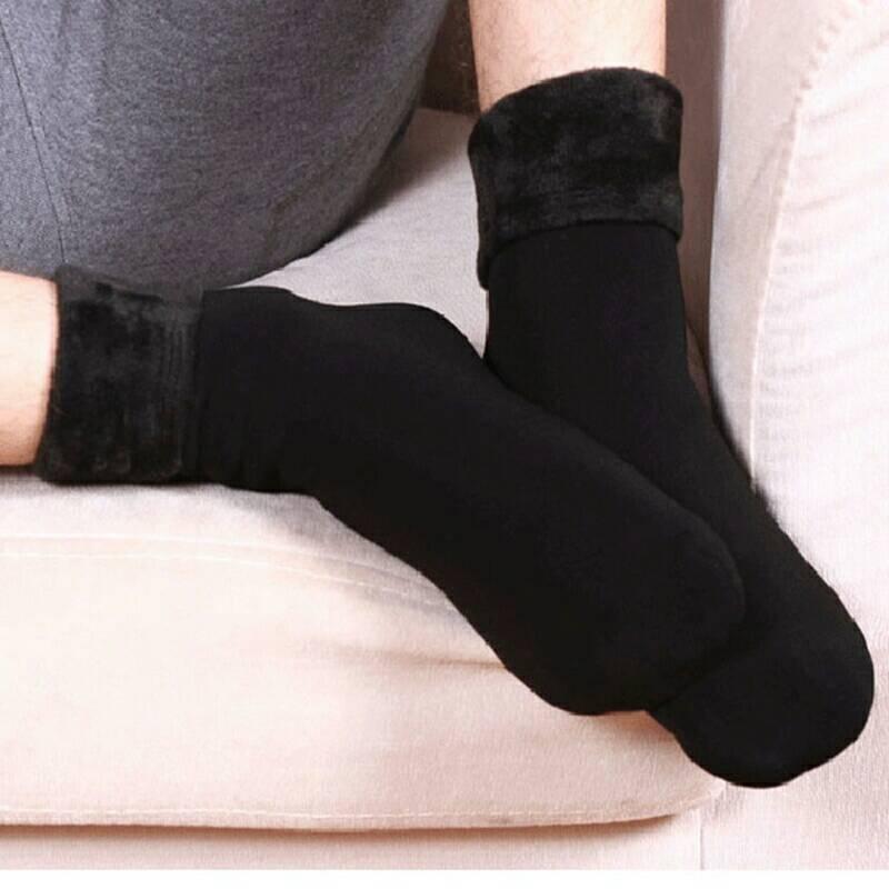 S503 **พร้อมส่ง** (ปลีก+ส่ง) ถุงเท้าบุขน กันหนาว ใส่ในอุณหภูมิติดลบได้ ใส่ได้ทั้งชายและหญิง สีดำ เนื้อดี งานนำเข้า(Made in China)