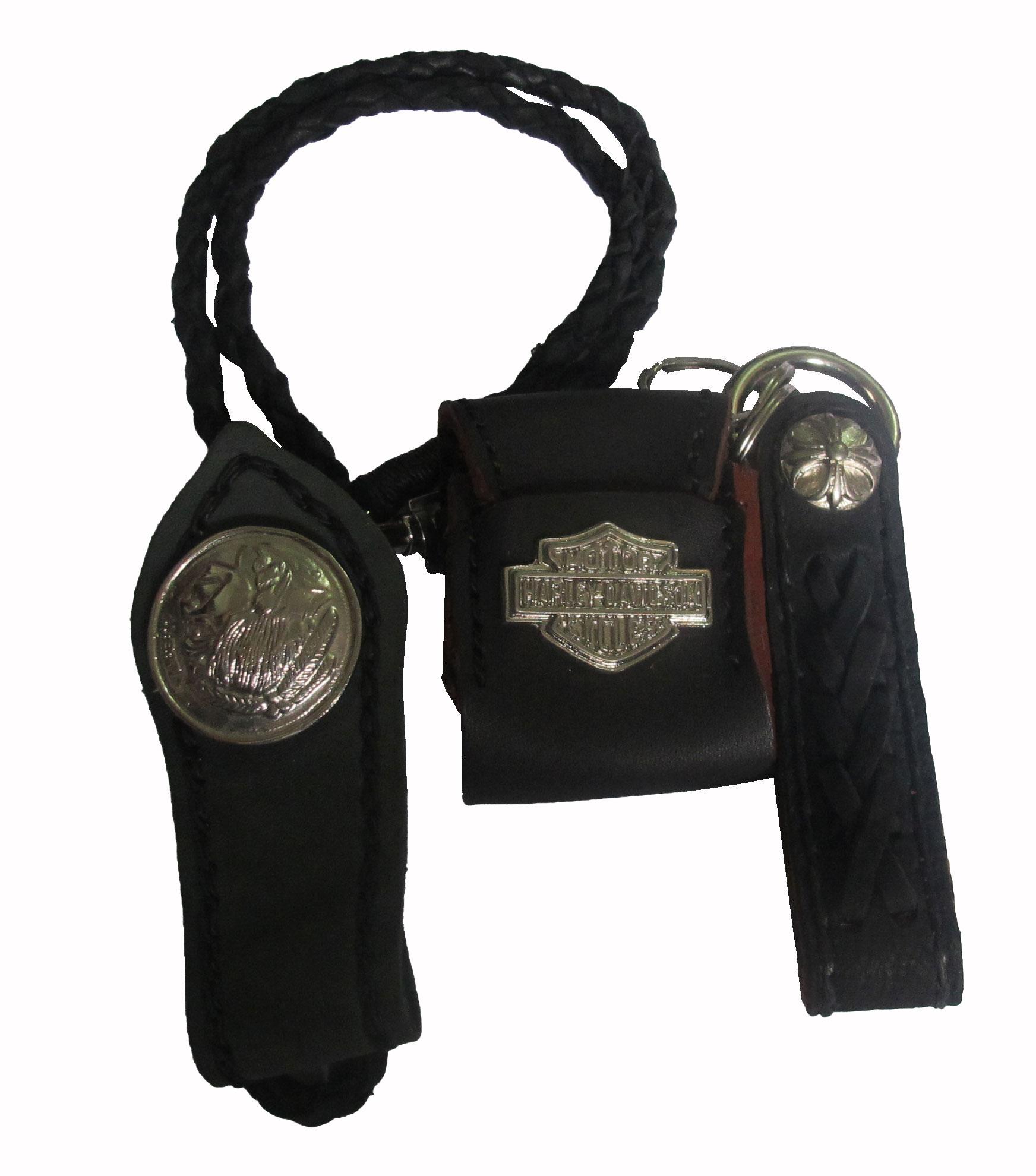 เชือกหนังถัก หนังวัวแท้ สำหรับ คล้องเข้ากับกระเป๋า และหูกางเกง สุดเท่ห์ สำหรับ ที่ใส่ไฟเช็ค และZippo