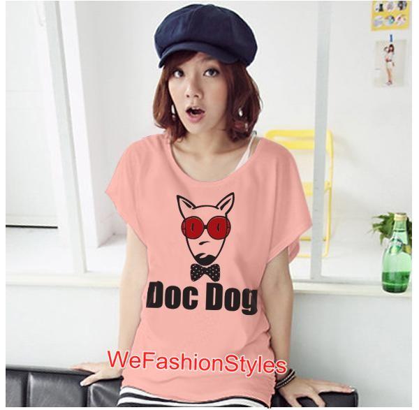เสื้อยืดแฟชั่น ผ้านุ่ม ลาย Doc Dog (Size M:36 นิ้ว) สีโอรส
