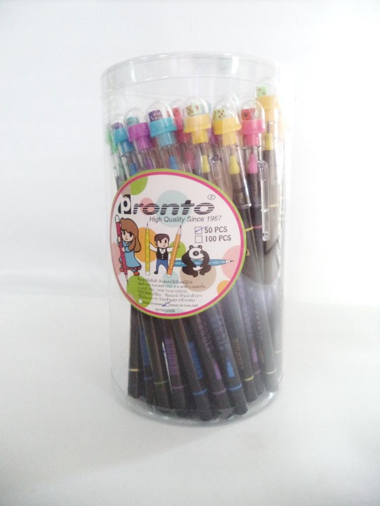 ดินสอต่อไส้ ด้ามดำ หัวลูกเต๋า (ขายส่งกระป๋อง 50 ด้าม)