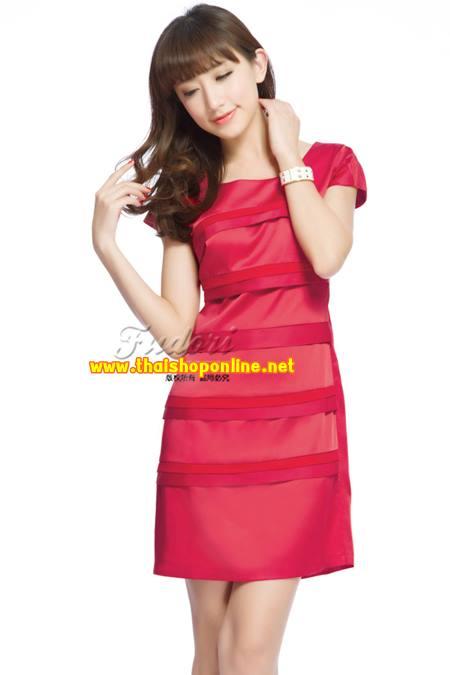 Pre-Order ชุดราตรีสั้น ชุดเดรสเข้ารูป Brand Fu daiyi แขนสั้น ผ้าโพลีเอสเตอร์อย่างดี ยืดหยุ่นดี ไม่ยับง่ายไม่ต้องรีด สวยมากๆ สินค้าเกรด A