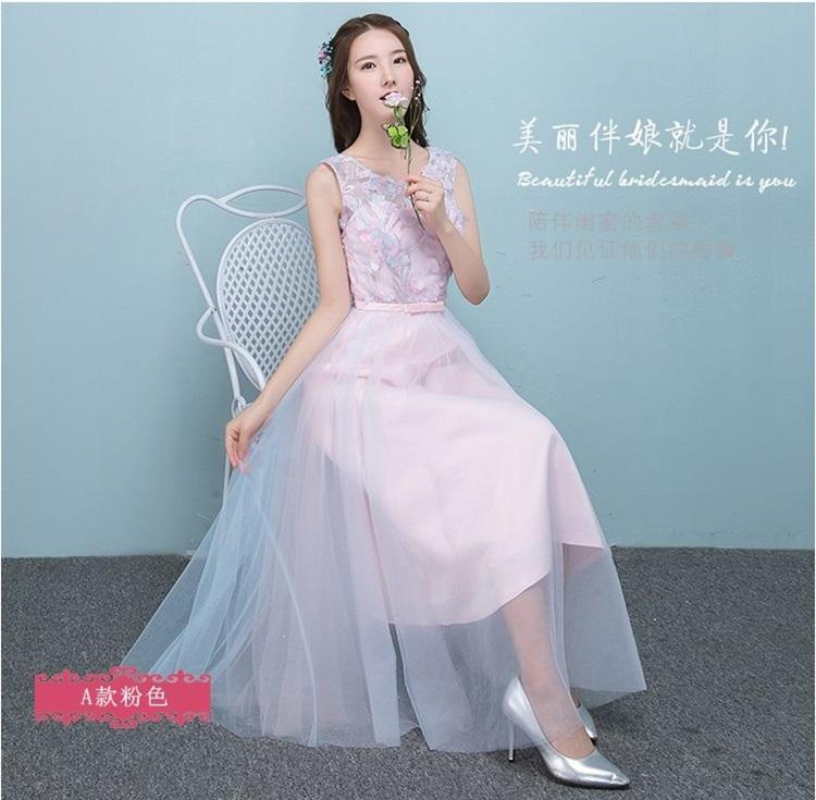 ชุดราตรียาวออกงาน สุดหรู ตัวเสื้อผ้าโปร่งปักด้วยด้ายเป็นลายเส้น ก้านดอกไม้สีเงิน