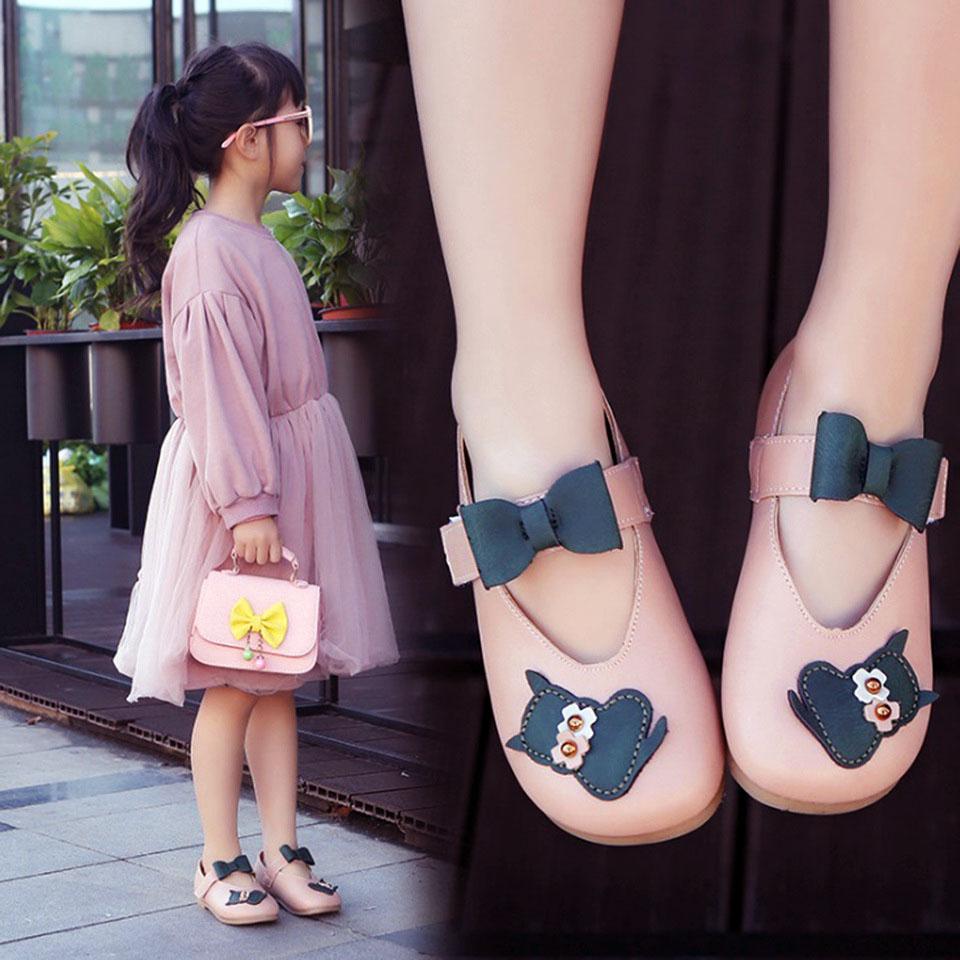 รองเท้าคัทชูส้นแบน แต่งเหมียวกับโบว์ที่สายรัด #แถบเมจิปเทป สีชมพู