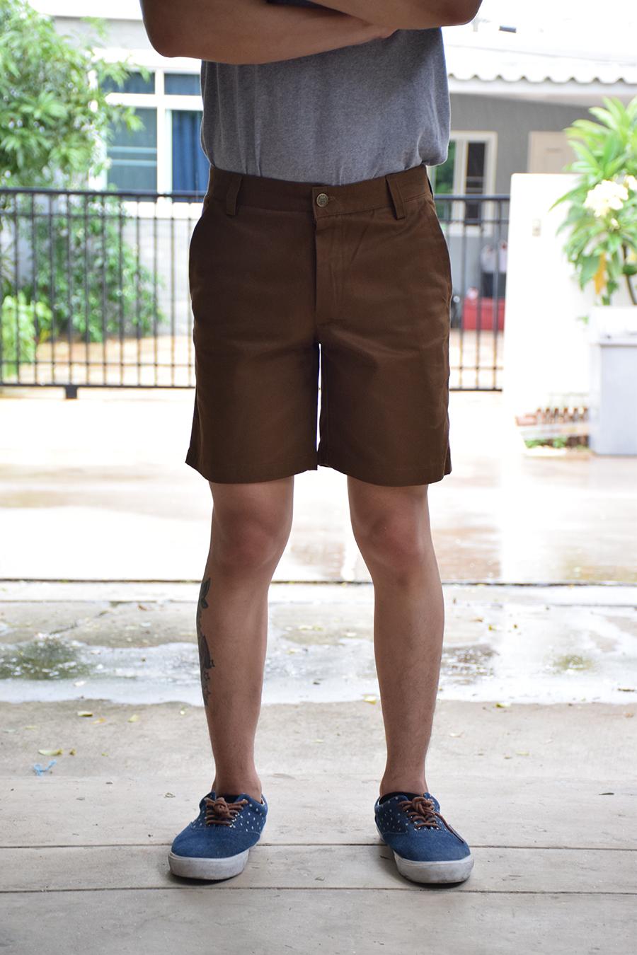 กางเกงขาสั้น สีน้ำตาลทอง