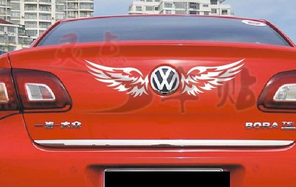 สติ๊กเกอร์โลโก้รถปีกนก สีขาว 25X8.5cm