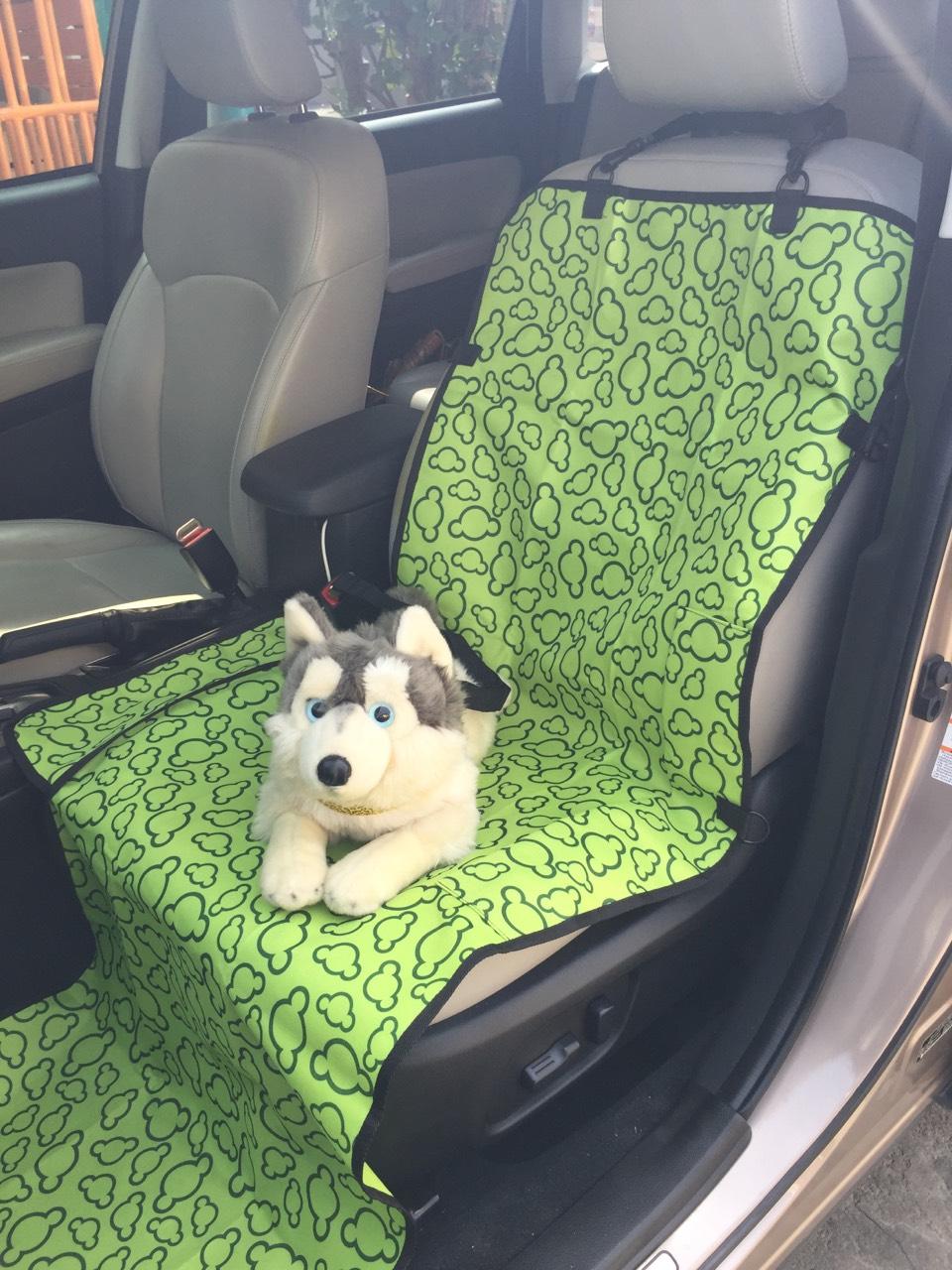 ผ้ารองเบาะรถยนต์สำหรับสุนัข ด้านหน้า ปูเต็ม สีเขียวลายเมฆ