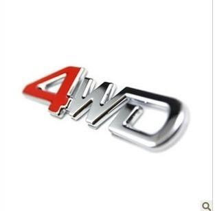 สติ๊กเกอร์ติดรถยนต์ 3D 4WD งานโลหะ 3x12.5cm