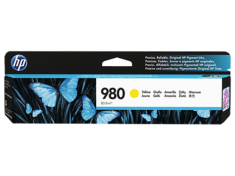 HP 980 ตลับหมึกอิงค์เจ็ท สีเหลือง Yellow Original Ink Cartridge (D8J09A)
