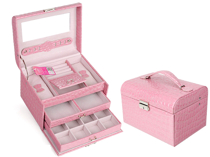 กล่องเครื่องประดับ 3 ชั้น สีชมพูอ่อน