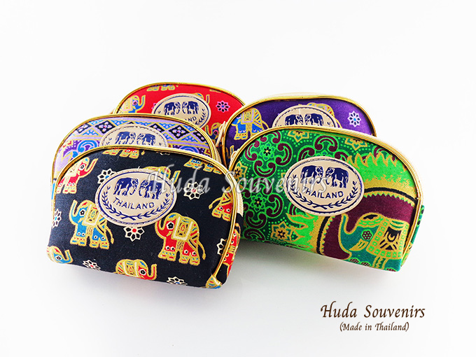 ของที่ระลึกไทย กระเป๋าผ้าลายไทย ขอบทอง (ขนาด: ขอบทอง S) ลายช้างการ์ตูน หนึ่งโหลคละสี จำหน่ายยกโหล สินค้าพร้อมส่ง