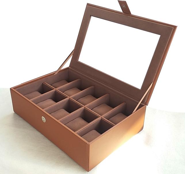 กล่องใส่นาฬิกา งานเกรดพรีเมี่ยม ระดับห้าง งานหนังบุดด้วยผ้ากำมะหยี่เนื้อนุ่ม