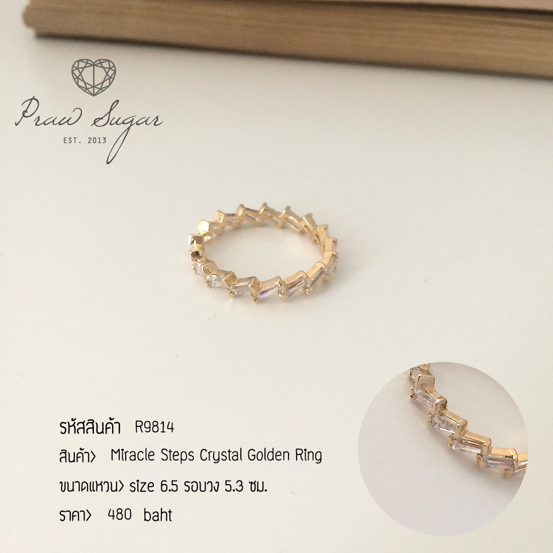 Miracle Steps Crystal Golden Ring