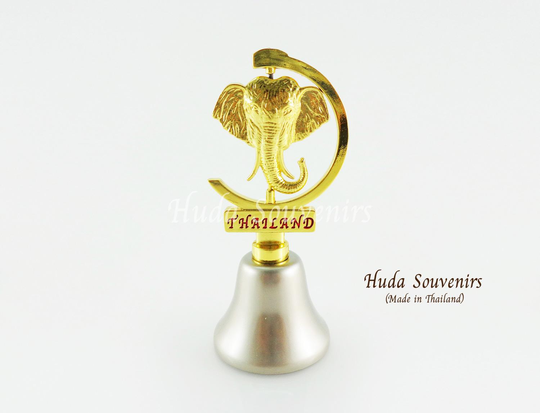 ของที่ระลึกไทย กระดิ่งทองเหลือง ลวดลายหัวช้างสามารถหมุนได้ สินค้าบรรจุในกล่องเรียบร้อย