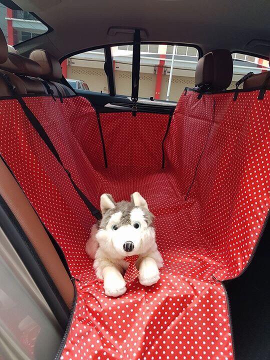 ที่รองเบาะรถยนต์สำหรับสุนัข ด้านหลัง 2 ที่นั่ง 2 in 1 สีแดงลายจุด