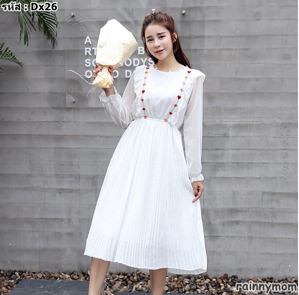 #เดรสกระโปรงคลุมท้องแฟชั่น คอกลมแขนยาว สีขาว ผ้าชีฟอง สไล์เกาหลีน่ารักมากค่ะ ผ้านิ่มใส่สบาย