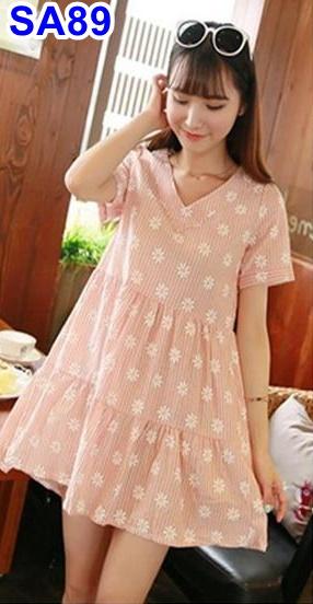 #เสื้อคลุมท้อง ผ้าฝ้าย สีส้มลายดอกไม้ แขนสั้น คอวี แขนสั้น ผ้านิ่มน่ารักใส่สบายจร้า