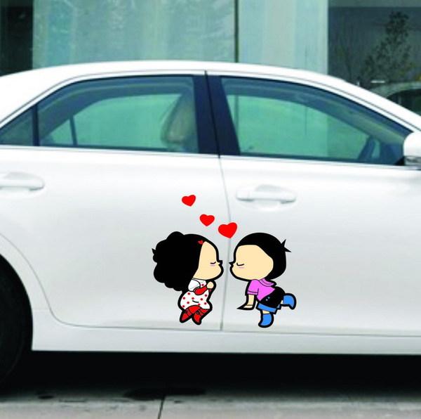สติ๊กเกอร์ติดรถยนต์ สาวหมวย หนุ่มตี้ Love Love (25x17 CM)