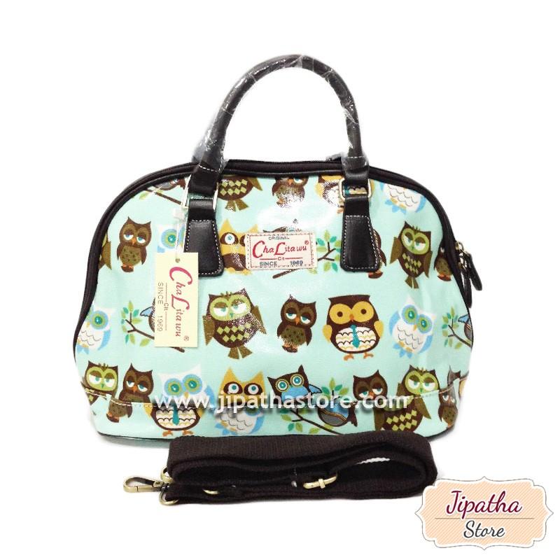 กระเป๋า Chalita wu + สายสะพาย โค้ง สีฟ้า ลายนกฮูก