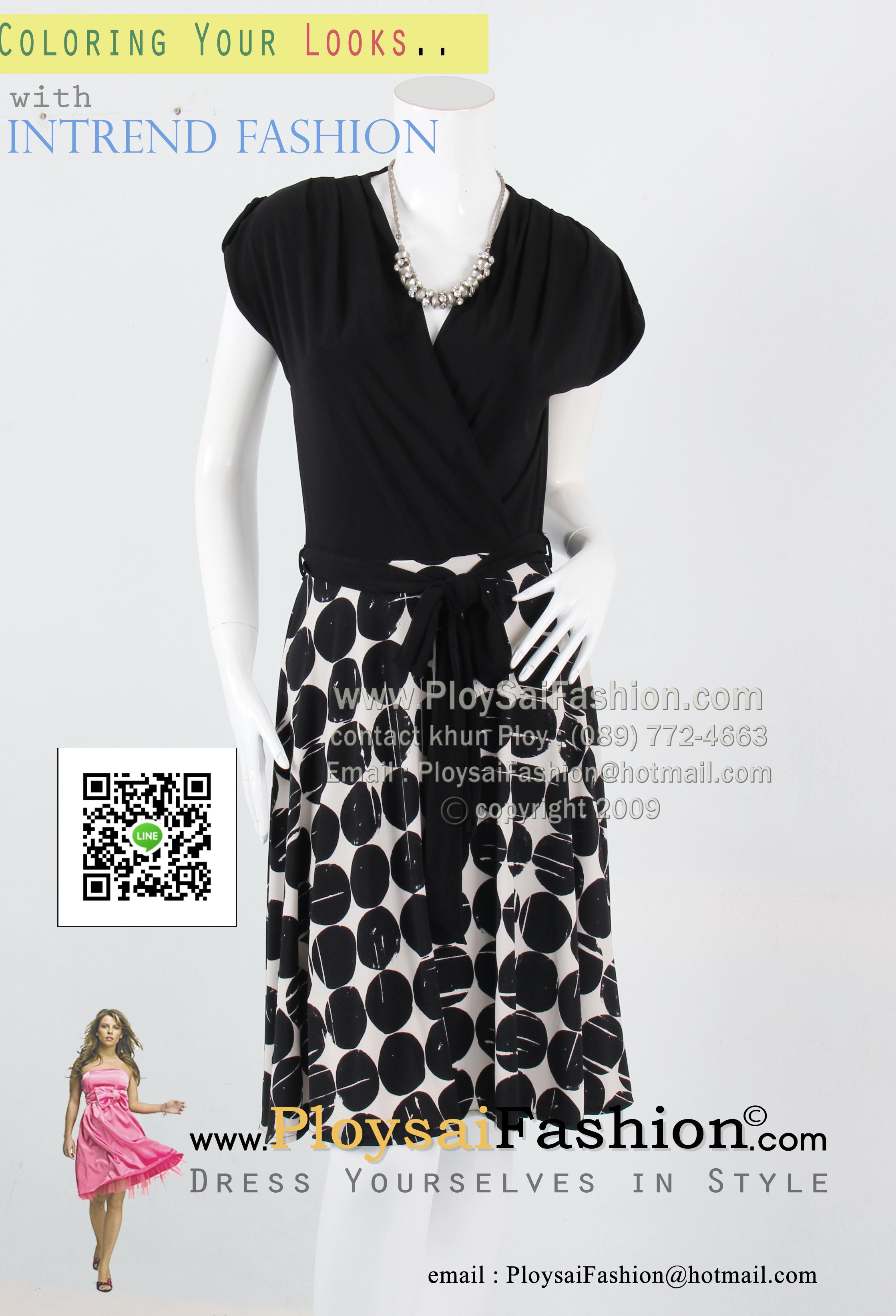 bw267 - ชุดเดรสทูโทนขาวดำ ผ้าเกาหลีแขนล้ำ ช่วงกระโปรงผ้าพิมพ์ลายขาวดำ