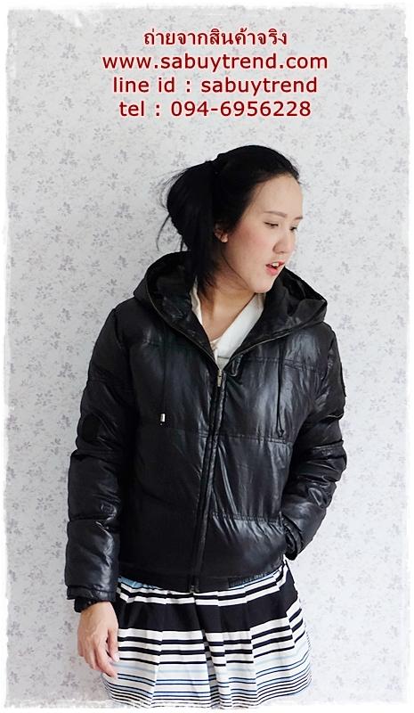 ((ขายแล้วครับ))((คุณมะเหมี่ยวศรีจองครับ))ca-2772 เสื้อแจ๊คเก็ตขนเป็ดสีดำ รอบอก44