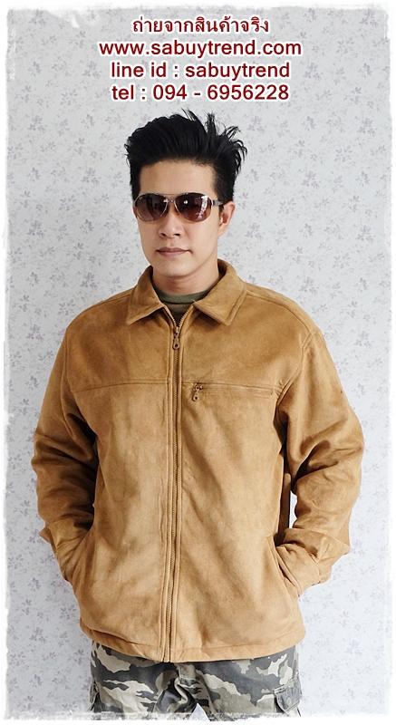 ((ขายแล้วครับ))((คุณศรีสกุลจองครับ))cm-95 เสื้อแจ๊คเก็ตกันหนาวผ้าชามัวร์สีน้ำตาล รอบอก45