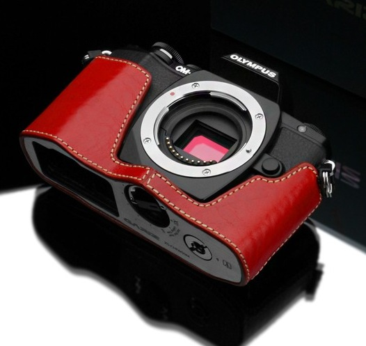 Gariz Leather Half-case for Olympus E-M10 : Red