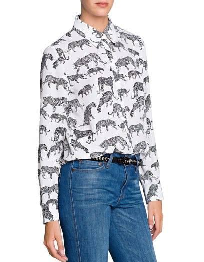 เสื้อเชิ้ต ผ้าชีฟอง ลายเสือดาว
