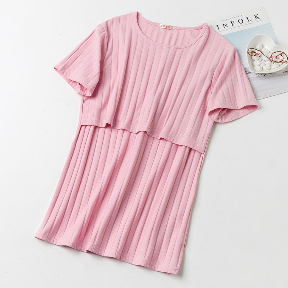 เสื้อให้นมสีชมพู