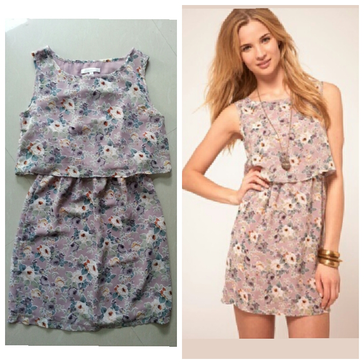 ASOS Lilac Floral Dress Size uk8