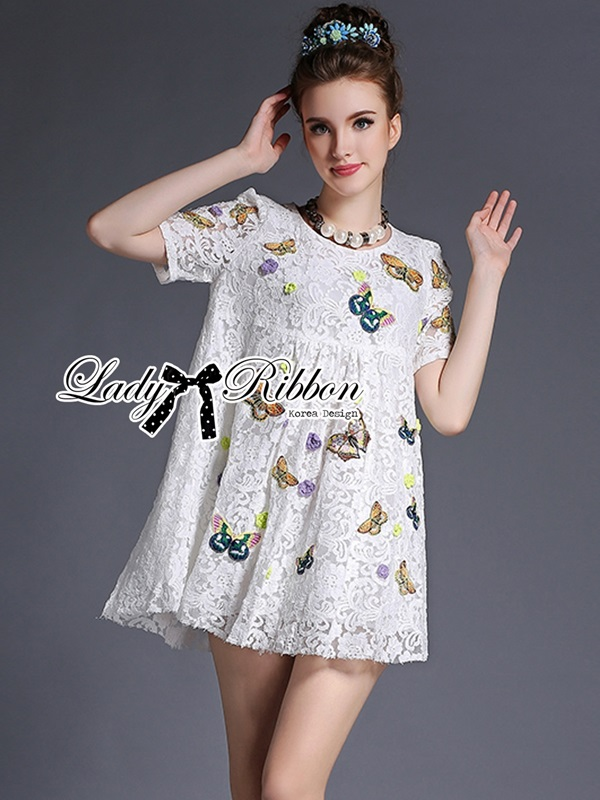 Lady Ribbon Butterfly Embroidered Lace Mini Dress