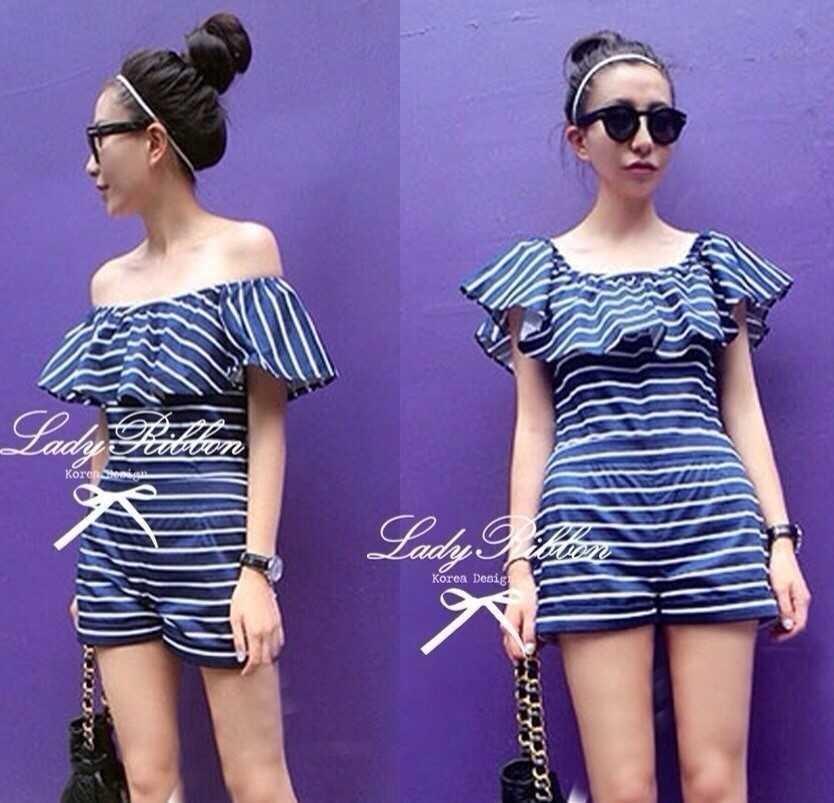 Lady Ribbon Blue Jersey Stripe Off-shoulder Playsuit