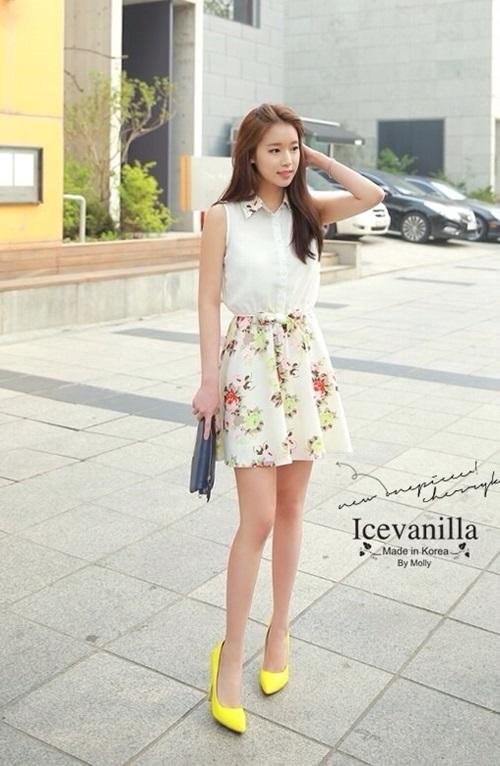 Ice Vanilla Romantic Retro Flower Sleeveless Dress