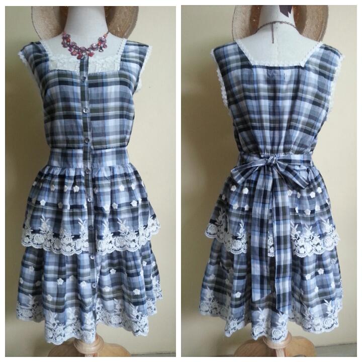 Yumi Blue Check Lace Dress Size M
